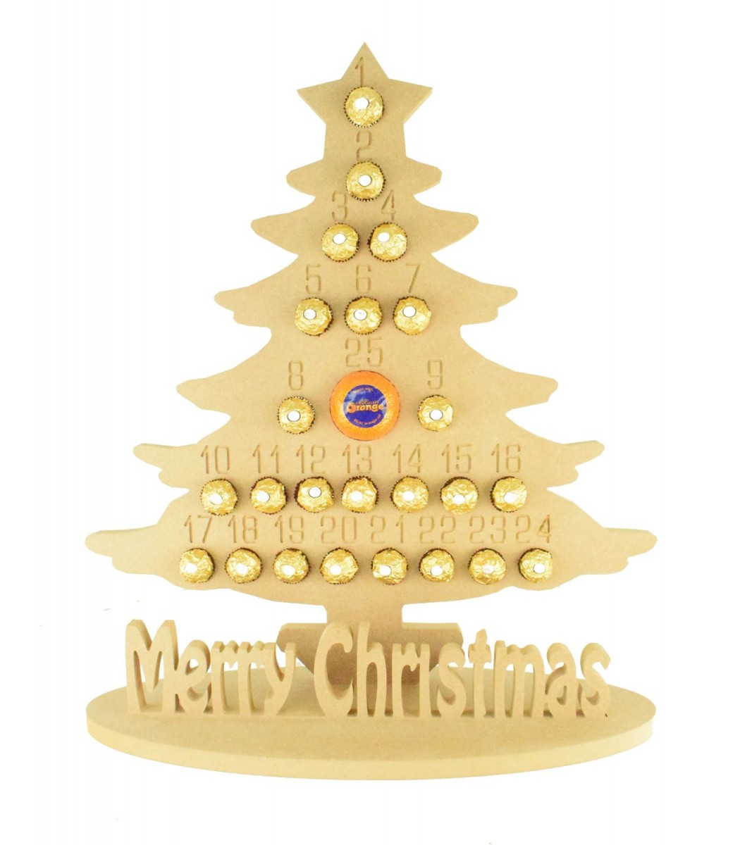 Super sized 18mm Freestanding Christmas Tree Chocolate Orange and Ferrero Rocher Holder Advent Calendar