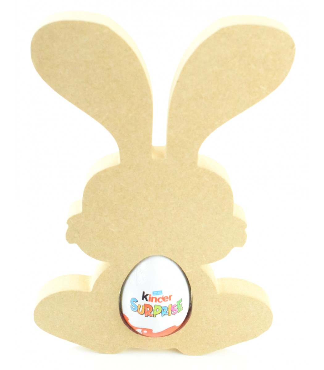 Kinder Egg Holder MDF Blank Shape 1 x Free Standing Easter Bunny Rabbit Creme